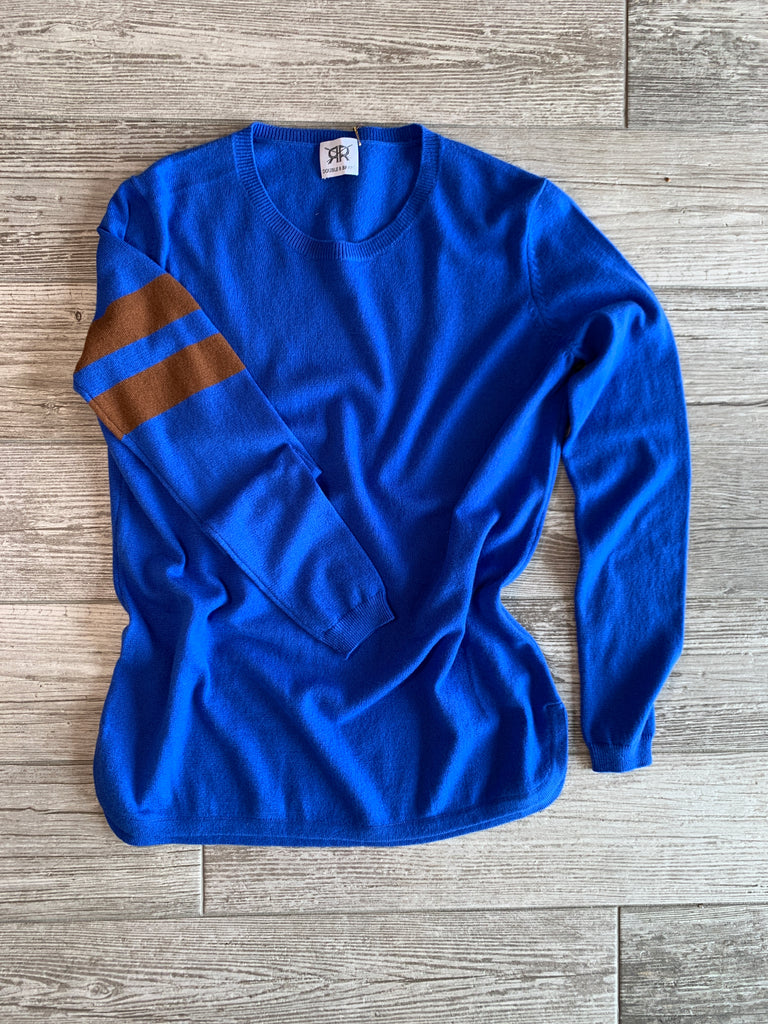 Scoop Hem Cashmere Sweater with Sleeve Stripes - Royal Blue/Coffee