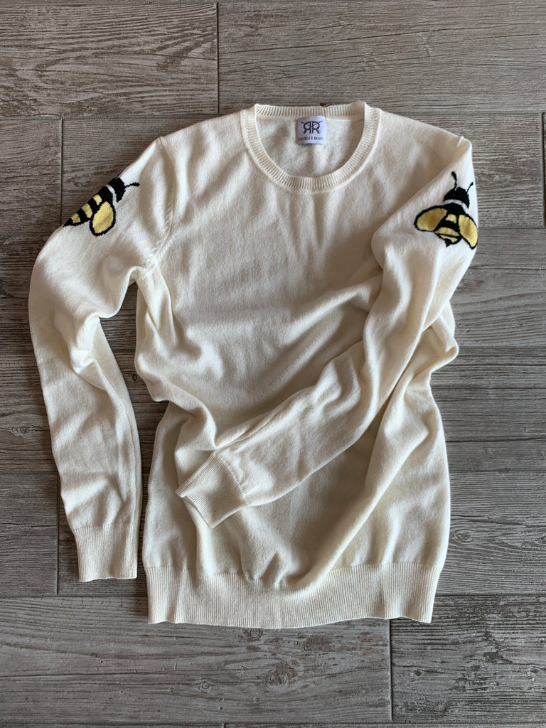 Bee Intarsia Crewneck Cashmere Sweater - Ivory