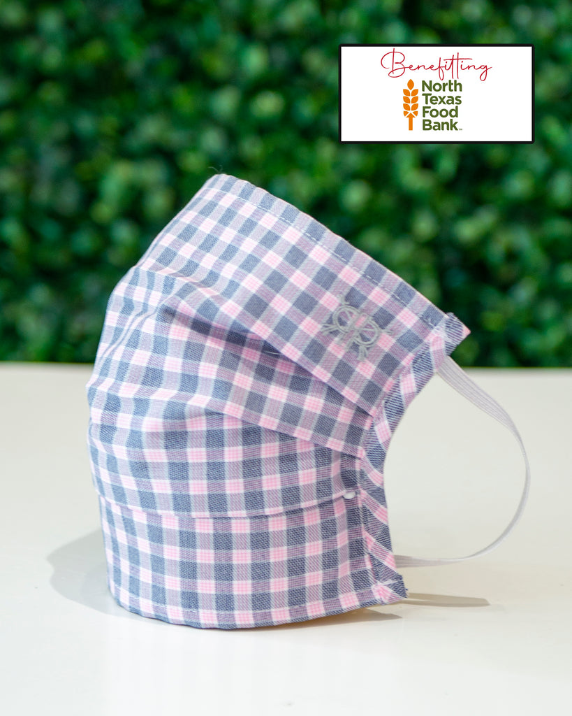 Pink and Grey Check Cotton Mask