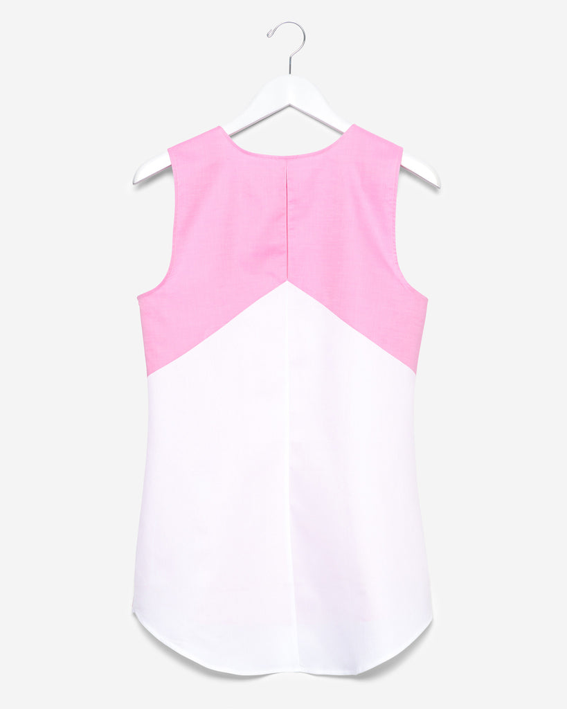 Sleeveless - Pink and White Colorblock