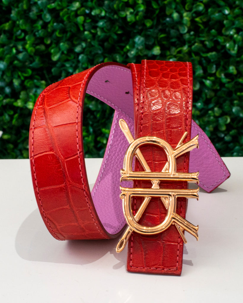 Red Alligator Belt Strap with Signature Buckle