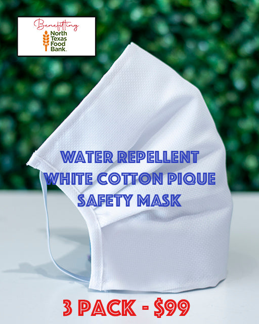 3 Pack White Pique Cotton Mask