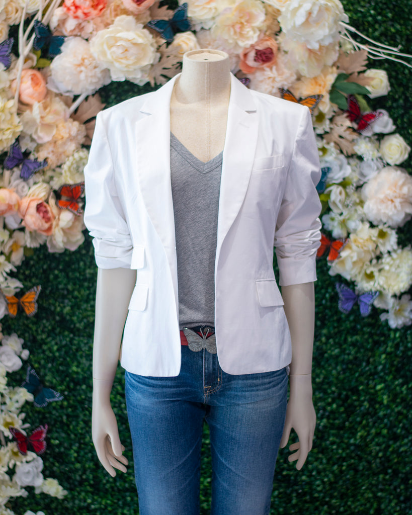 White Cotton Stretch Blazer