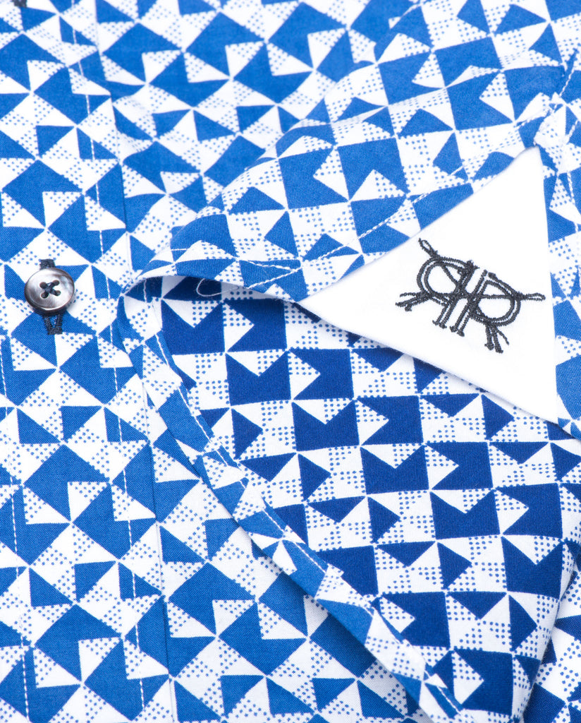 Tailored - Blue Geometric Print