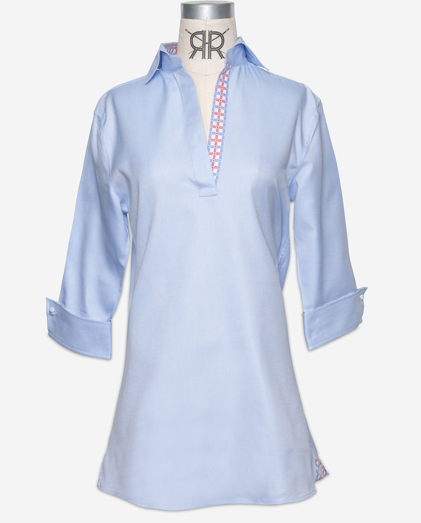 Tunic - Blue Oxford with Red/Blue Contrast Check