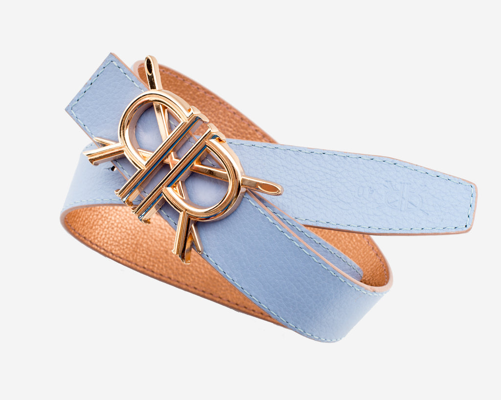 Periwinkle and Metallic Gold Belt Strap with Rose Gold Buckle