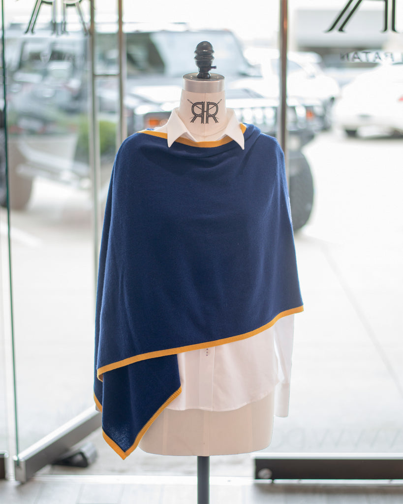 Navy and Gold Cashmere Travel Poncho