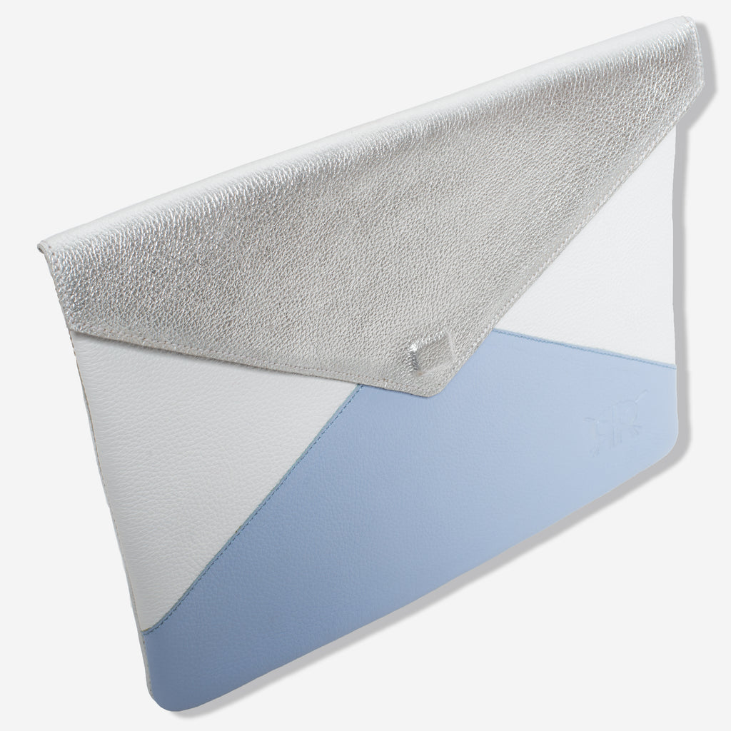 Silver and Blue Clutch