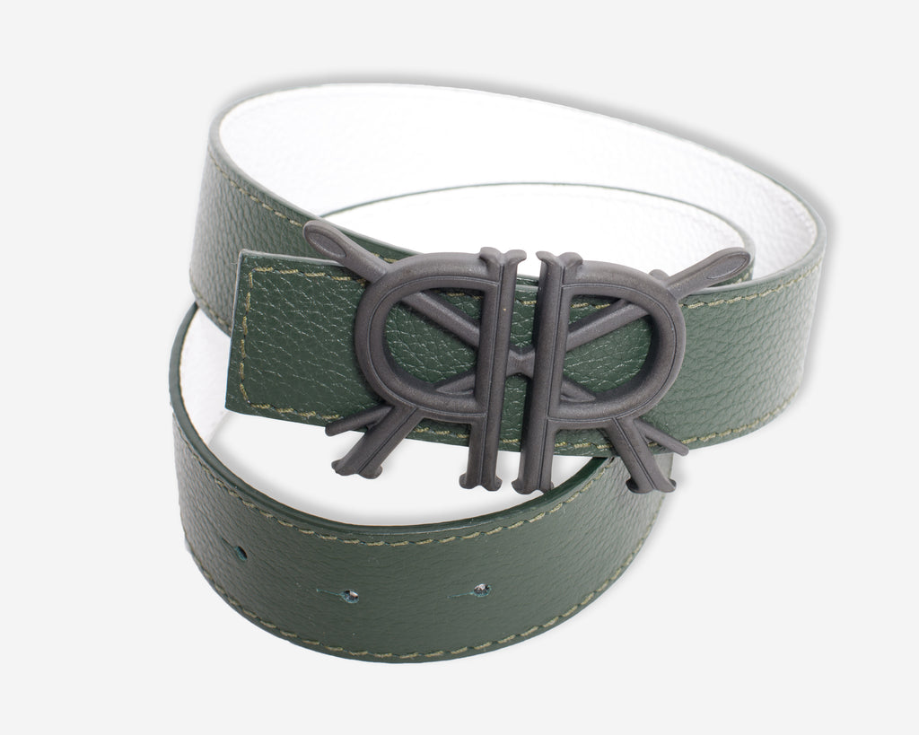Hunter Green and White Belt Strap with Matte Black Buckle