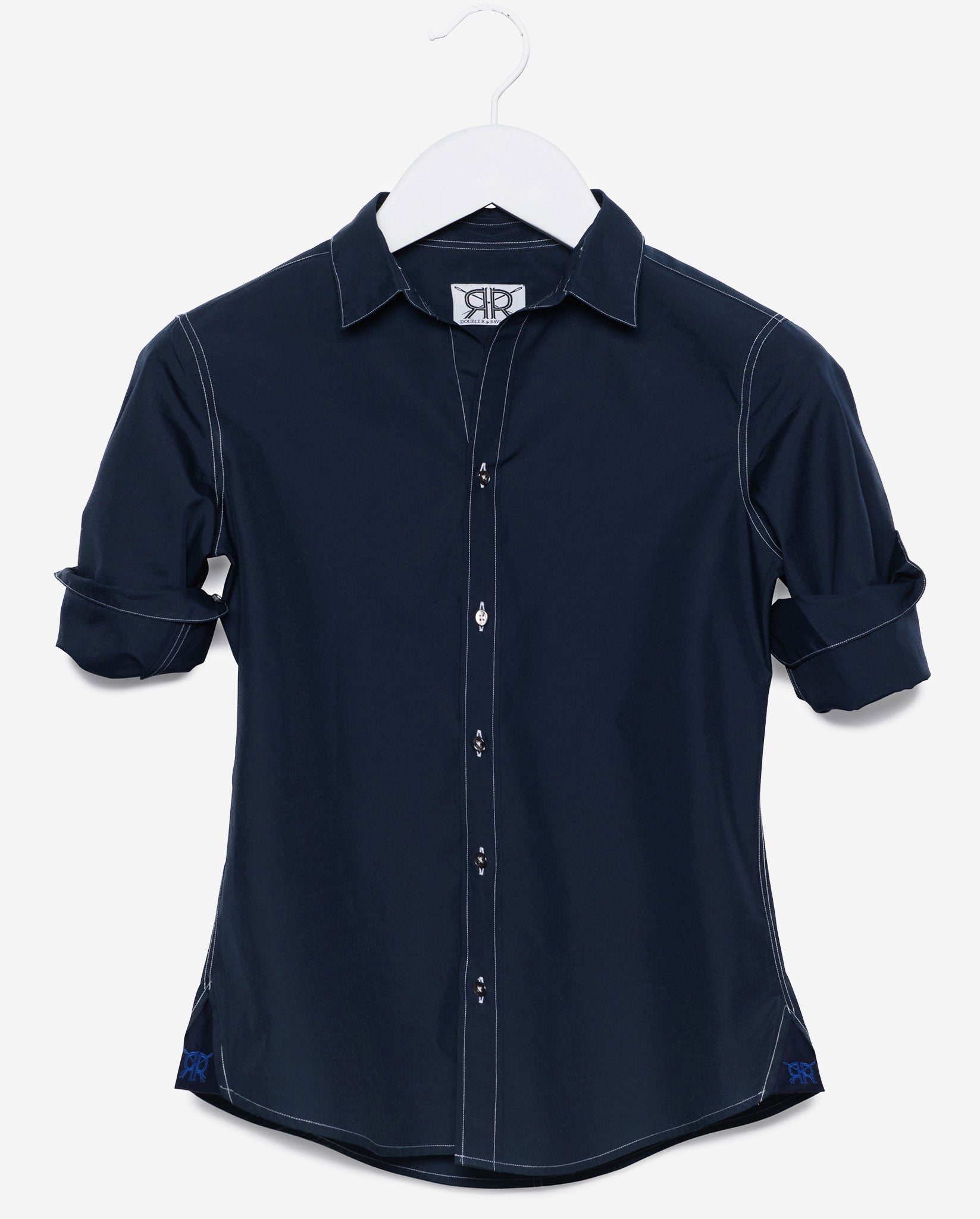 effb7826e4920 Tailored Shirt - Navy with White Stitch Women's Button Down by ...