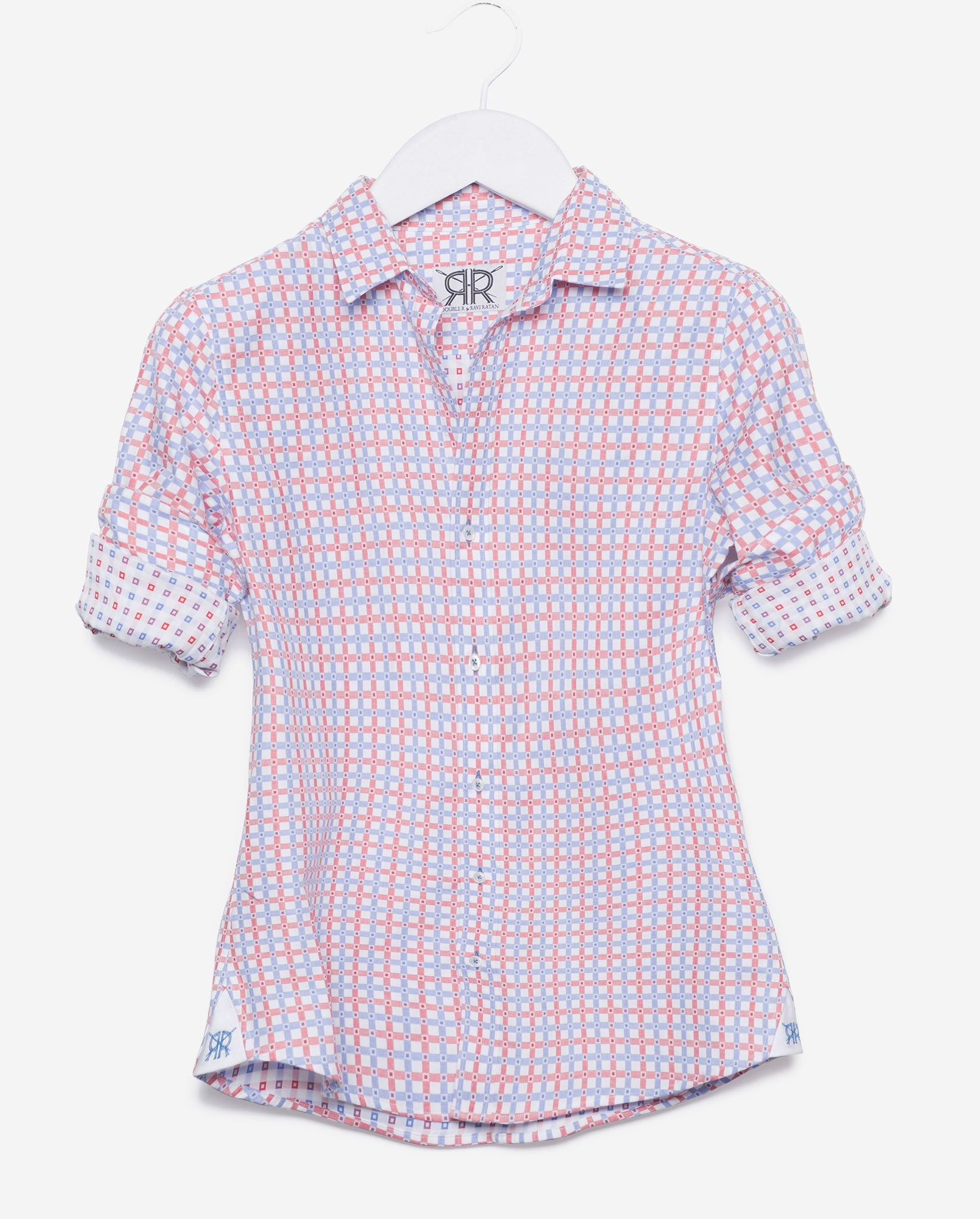 Tailored Shirt - White with Red and Blue Check Women's Button Down ...