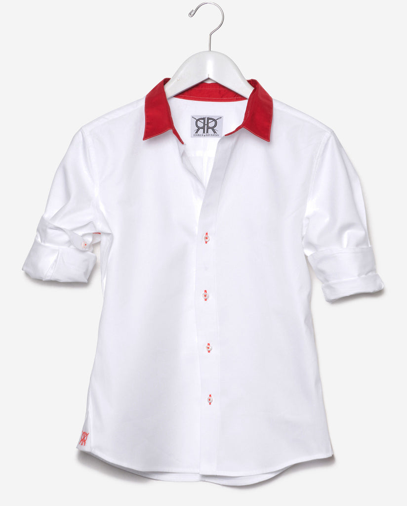 Tailored - White with Red Collar