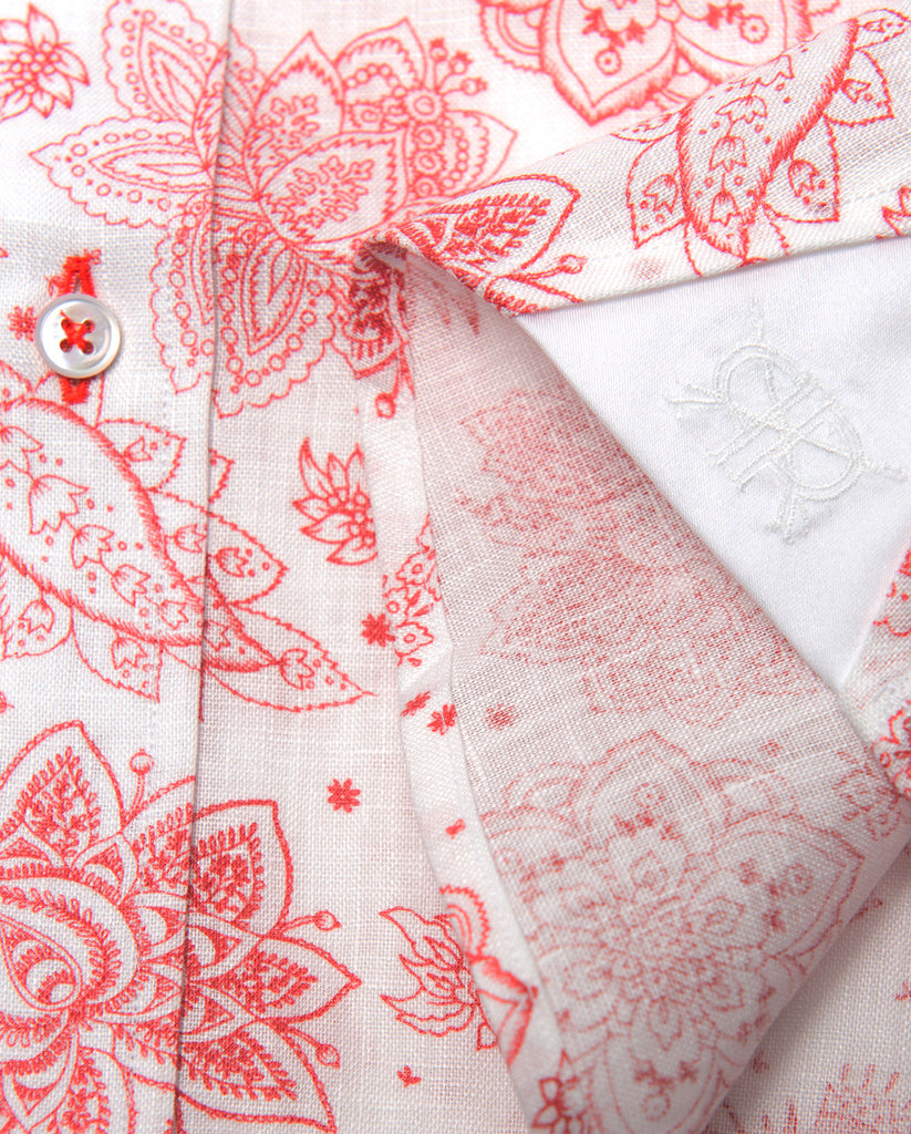 Tailored - Red Print on White Linen