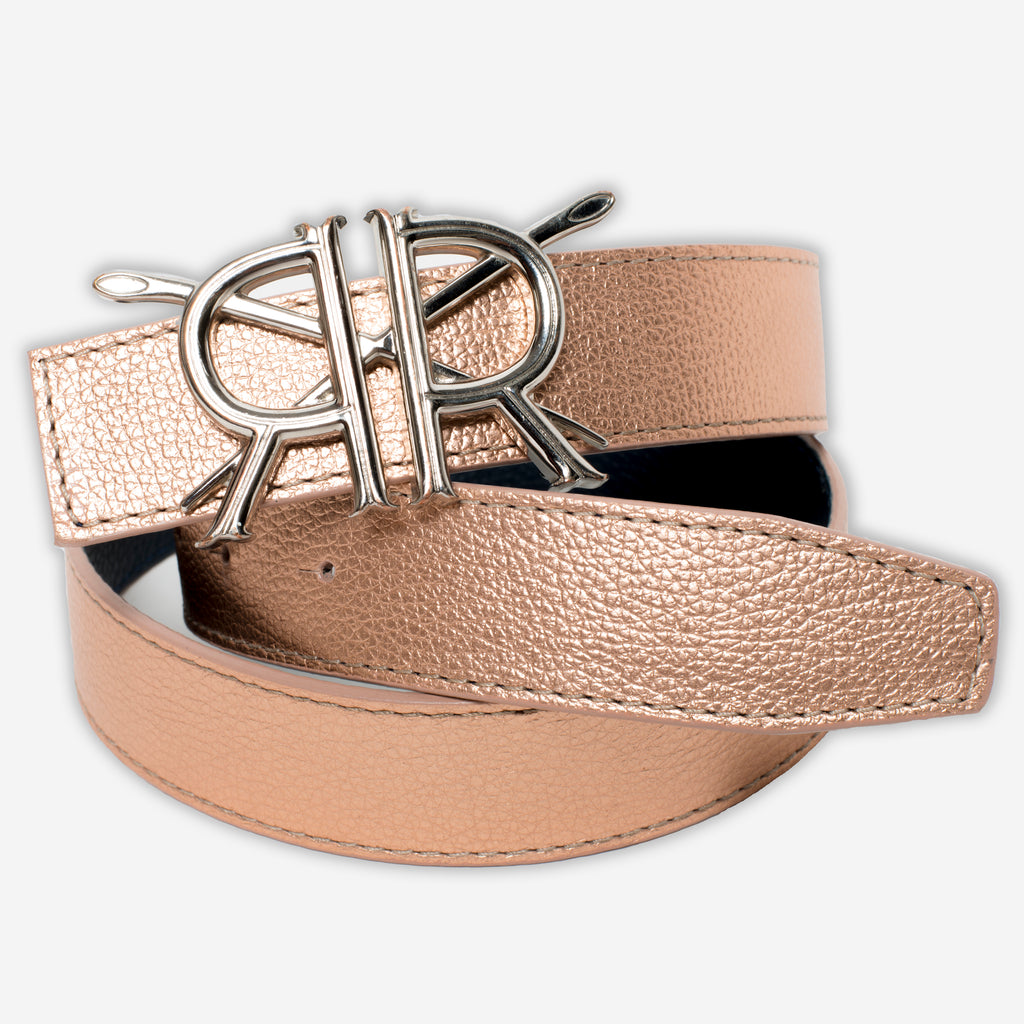Rose Gold Pebble Grain Strap with Silver Buckle