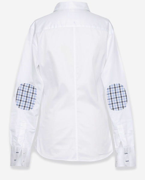 Tailored Shirt White With Plaid Elbow Patch Women 39 S