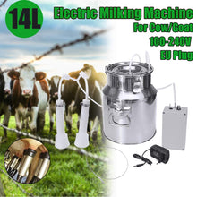 Load image into Gallery viewer, 14L 60Kpa Electric Milking Machine Cow Goat Sheep Milker Portable Barrels Tank Double Heads Milking Tools 110V-240V 15L/Min