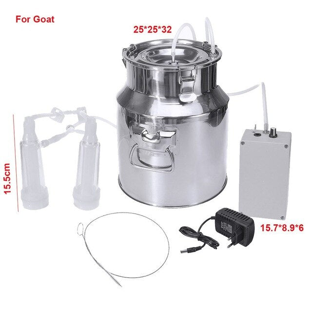 14L 60Kpa Electric Milking Machine Cow Goat Sheep Milker Portable Barrels Tank Double Heads Milking Tools 110V-240V 15L/Min