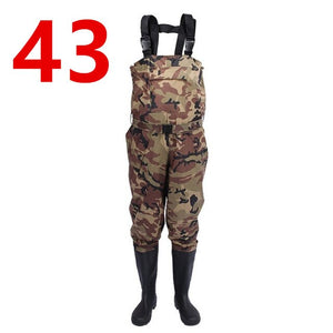 Outdoor Camouflage Hunting Farming pants Euro 38-47 Men Waterproof Anti-wear Waders Pants Boots Fishing Suspender Jumpsuit A9252