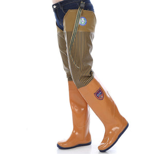 Fishing Waders Soft Waterproof Amphibious Shoes Over the knee rubber boots 0.7mm PVC Pants One-piece Garden Mud Car Wash Farm