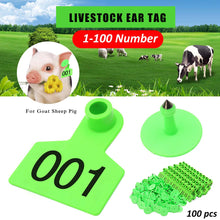 Load image into Gallery viewer, Farm Animal Livestock Ear Tags Cattle Pig Sheep Head Earrings Signs Numbers 001-100 Farm Animal Identification Card
