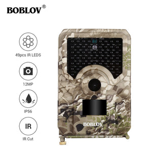 BOBLOV PR200 12MP 49PCS IR Leds 120 Degree Trail Hunting Camera Wildlife Farm Game Scouting Cam Night Vision With Time Lapse