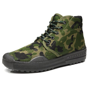 EU35-45 High-tops Antiskid And Wear-resistant Outdoor Camouflage Military Training Farm Bulding Hiking Sneakers Shoes Men Women