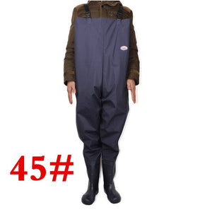 Plus Size 46# One-piece Breathable Chest Waders for Fishing Farming Overalls One-piece Body Clothes Rubber&Plastic Fishing Wader