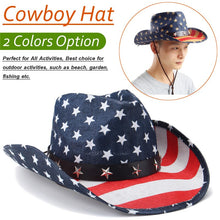 Load image into Gallery viewer, Handmade Unisex Straw Cowboy Hat Metal Star Leather Belt Knot Western Sombrero Prairie Stripe Jazz Wide Brim Caps Summer Sun Hat