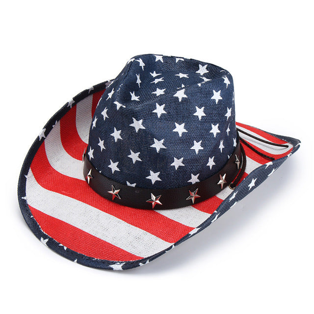 Handmade Unisex Straw Cowboy Hat Metal Star Leather Belt Knot Western Sombrero Prairie Stripe Jazz Wide Brim Caps Summer Sun Hat