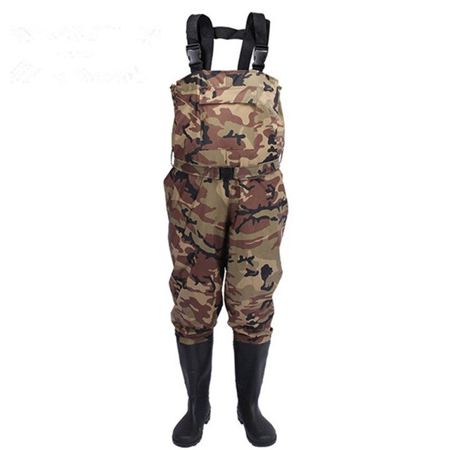 Eu38-47 Outdoor Waterproof Fishing Wading PVC Pants Breathable Boots Camo 3-layer Men Women Waders Farming Overalls Trousers