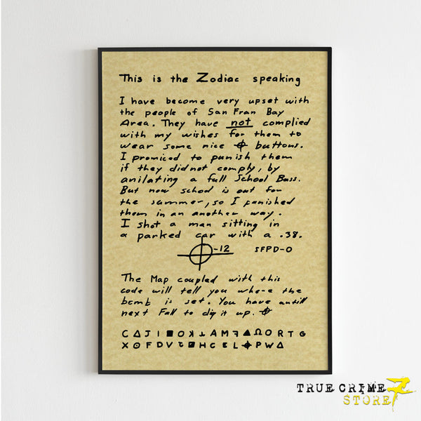 The Zodiac Letter Poster