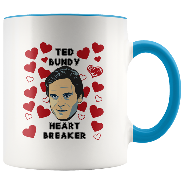 Ted Bundy Heart Breaker Accent Mug
