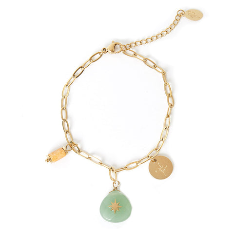 BEDEL ARMBAND STEEN MINT & GOUD