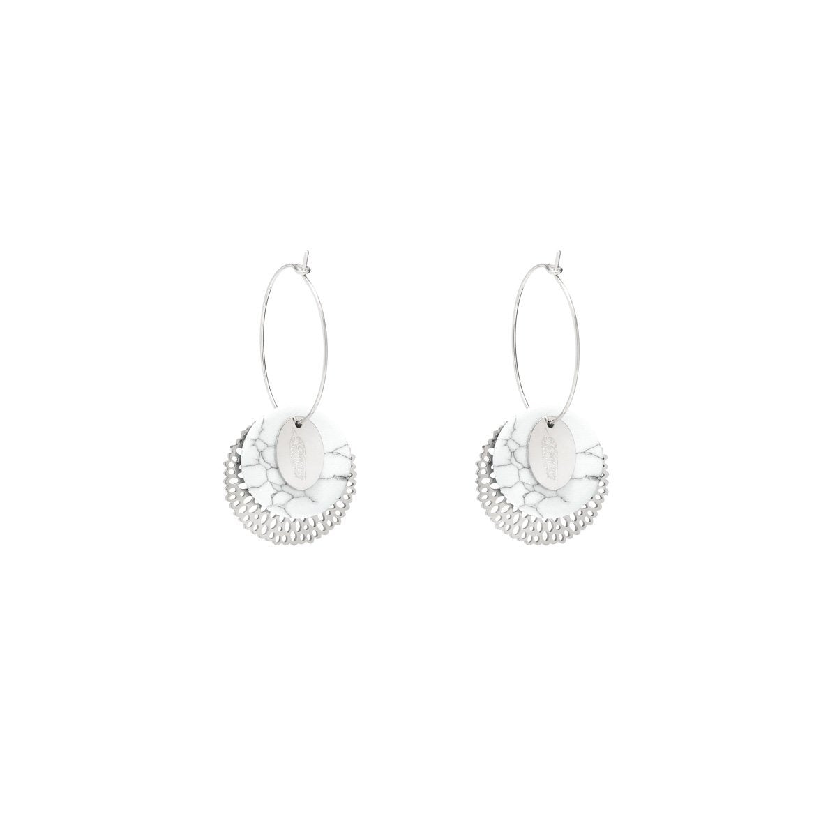 OORBEL MARMER LOOK - ZILVER (1pc)