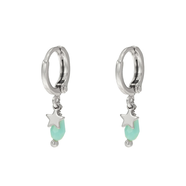 TURQUOISE MET STER ZILVER (1pc)