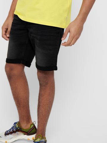 OS | PLY REG BLACK DENIM SHORTS