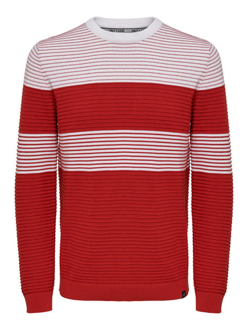 OS | NYKKO STRIPED STRUC KNIT RED