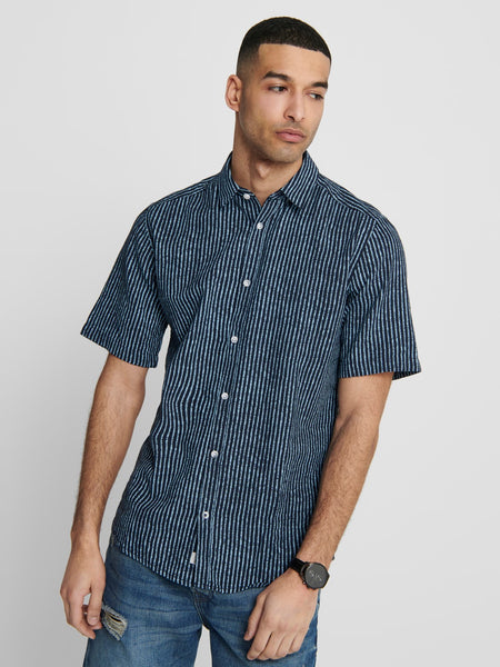 OS | CAIDEN HERRINGBONE STRIPE SHIRT - AQUATIC