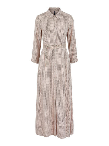 MINI DOTS BELTED DRESS - LIGHT TAUPE