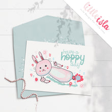 Load image into Gallery viewer, Have a Hoppy Day 5x7 Glittered Greeting Card by Little Isla