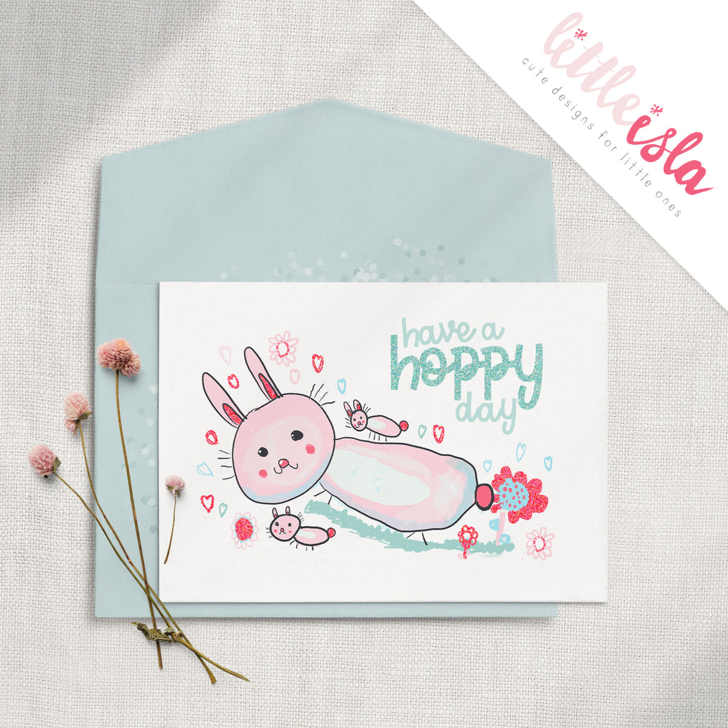 Have a Hoppy Day 5x7 Glittered Greeting Card by Little Isla