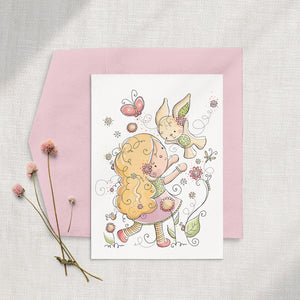 Bunny Girl 5x7 Greeting Card