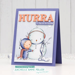 'Snowman Hug' Christmas Digital Stamp (High Res JPG)