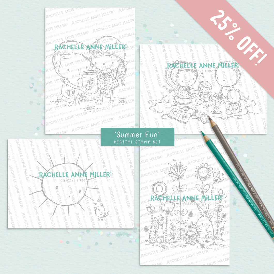 'Summer Fun' Digital Stamp Set (High Res JPG) BUY 3, GET 1 FREE