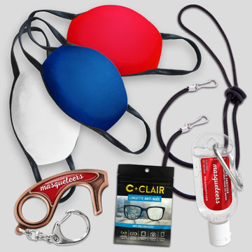 Adult Mask Kit - Solid Red White and Blue
