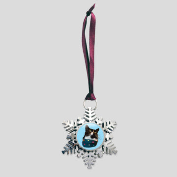 The Oreo Cat - Platinum Snowflake Ornament (Onyx)