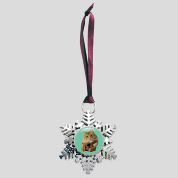 The Oreo Cat - Platinum Snowflake Ornament (Pudding)