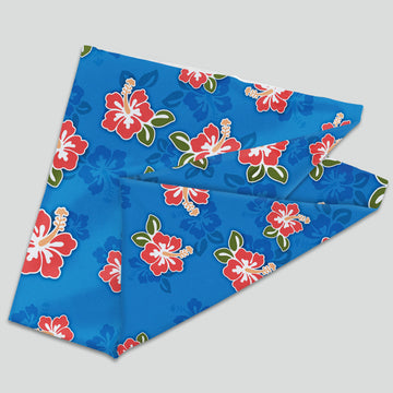 Flowers - Red on Ocean Blue (Neck Gaiter)