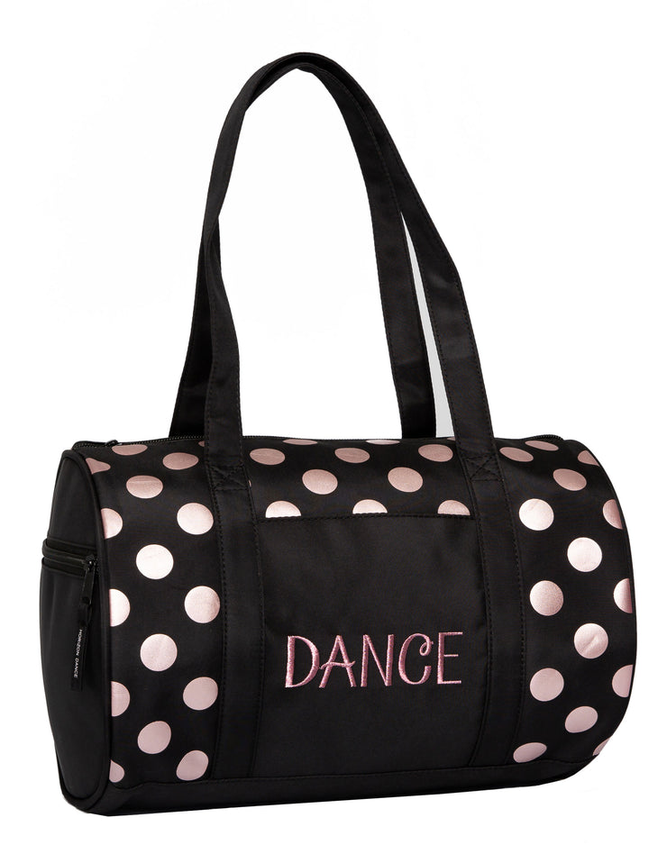Horizon Dance 1053 Dots Small Duffel Bag for Dancers - Black / Rose Gold Dots