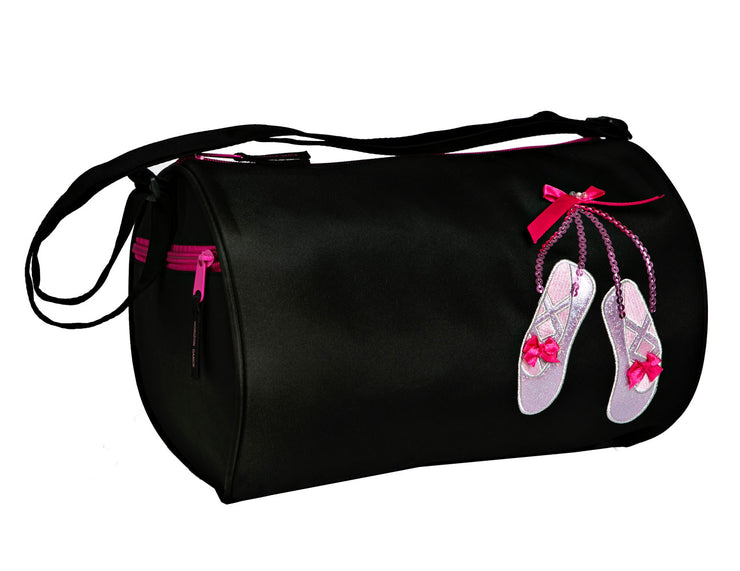 Horizon Dance 6770 Sparkle Dance Shoes Applique Duffel Bag - Black
